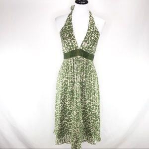 BCBG MAX AZRIA Green Halter Floral Silk Dress 6